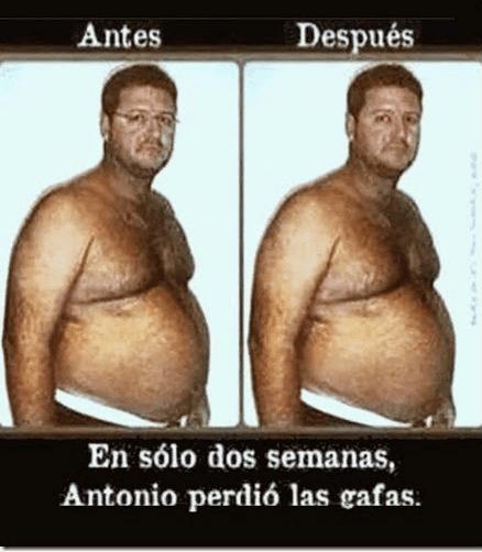 Antonio perdió gafas