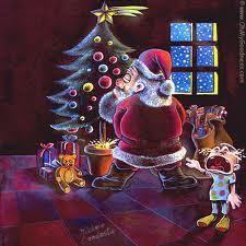 Santa Claus Papa Noel borde mea el arbol