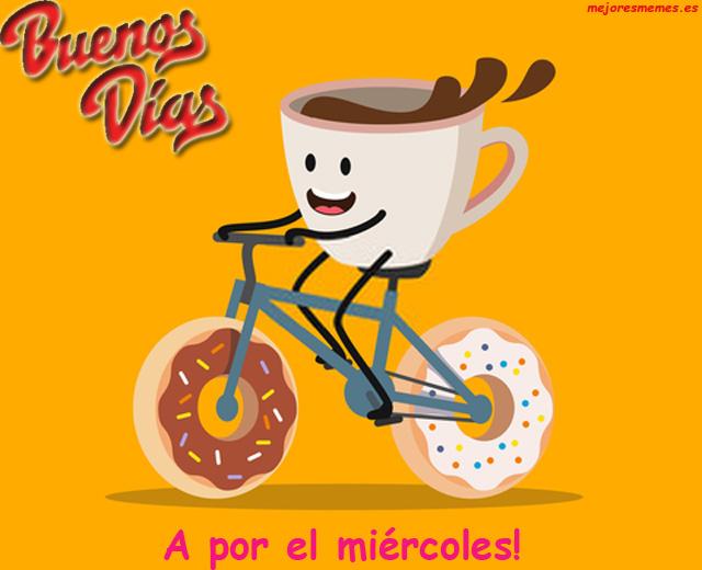 Buenos días Taza bicicleta donuts miércoles