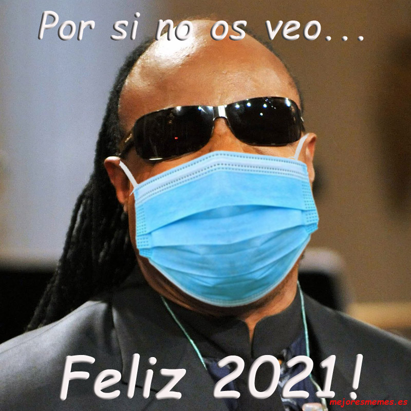 Por si no os veo Stevie Wonder feliz 2021 mascarilla